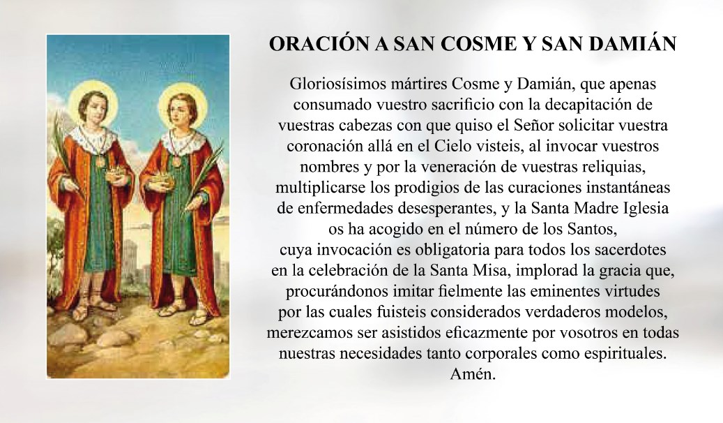 Oración a San Cosme y San Damián